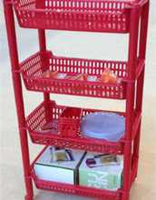 4 Tier Under Sink or Kitchen Storage Shelf with Adjustable Height Goes Around Drainpipes. For Kitchen or Bathroom