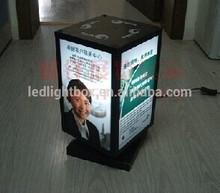 4 side spiner display led free standing post LED light swivel advertising box