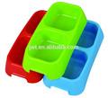 de plástico de doble secciones de animales domésticos de comida para perros de agua de alimentación bowl plato