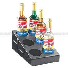 Plastic 3 Tier Bottle Holder, Black ABS Wine bottle Display Riser, 6 hole slope Glass bottle Rack, Plastic Bottle Organizer