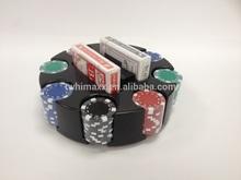 Poker set in plastic carousel base