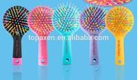 ROUND FOLDING NYLON PIN HAIR BRUSH / HAIRBRUSH WITH MIRROR