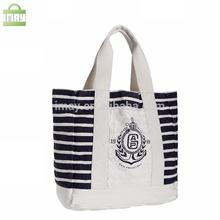 Hot sale stripe fashional canvas shopping bag