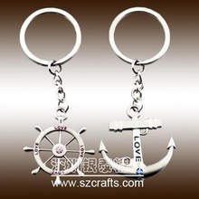 Creative metal gift zinc alloy rudder and anchor lovers couple keychains