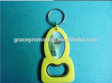 Custom Promotional Plastic Bottle Opener, Soft PVC yellow color Bottle Opener