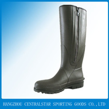 Waterproof dark green shiny rubber boots fishing boots with zipper