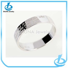 Popular plain with English word italian silver rings