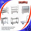 Hotel 3 layers housekeeping cart, service cart, food service trolley Stainless Steel Round Tube Clean Dish trolley