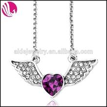 Full Diamond Angel Wing With Purple Rhinestone Heart Pendant Necklace