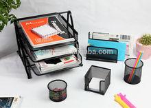 office desk leather stationery set( 3-tier document tray+Letter sorter+ Memo holder +Pen holder +Paperclips holder )