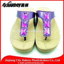 Big rhinestone Arabic handmade PU kolhapuri ladies chappal slipper from China