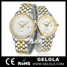 HOT!!! two tone 18k plated gold couple watch for wholesale