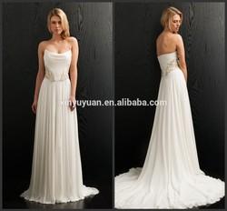 2014 popular sweatheart sleeveless A-line floor-length ruffle beading satin wedding dress ZX-175