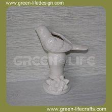 blanco de cerámica de aves jarrón de flores