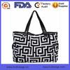 Black Greek Pattern Print Fashion Bag Women Lady Fashion Canvas Handbag OEM