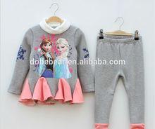 New arrival frozen anna dress gray and pink frozen t-shirt beautiful kid t-shirt