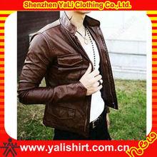Hot sale bulk plain polyester waterproof cheap european fashion winter men leather coat