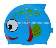 sun protection silicone child mesh swim cap,printable waterproof fish shape swim cap for kids UN-0607