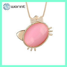2014 new products cutest kitty cat eye stone pendant necklace