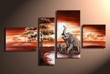hand painted animal art elephant oil painting