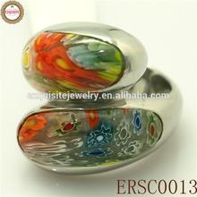 2014 Fashion Hot Selling Multicolor Murano Millefiori Stone Ring Party Rings