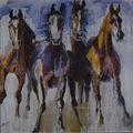 ผ้าใบศิลปะที่ทำด้วยมือภาพวาดสีน้ำมันม้าป่า