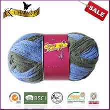 unique fishnet-style knitting yarn creates a fantastic ruffled scarf.