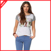 Wholesale fashion 100% polyester slim fit round neck sublimation custom print lady t-shirt