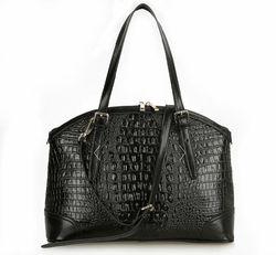 bot6372c crocodile genuine leather black women trendy bag hand bag