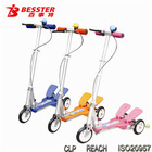 [NEW JS-008H] Dual-pedal plastic kick scooter with 3 wheels kids sport best kids pink scooter with patents aluminum toy