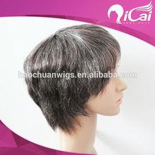 high quality machine made grey hair wig &machine made wig&full machine made wig