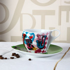 Napoli Gift Collection 100cc Hyper White Porcelain Cup and Saucer of I Love U Valentines Day Series Item