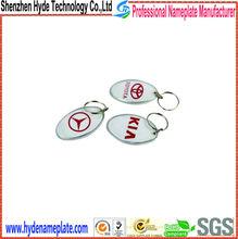 polished zinc alloy tag, cheap brand metal car key logo