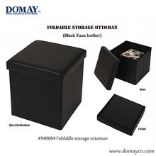 Faux leather foldable storage stool box, ottoman box