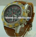 2014 nouveau design en cuir véritable montres à quartz montre de sport de haute qualité!!