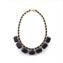 Hot Fashion 2014 new j c black big gem handmade chain necklace gift