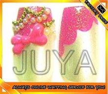 hot top fashion pink bow tie cute decor nail art 3d nail design tips