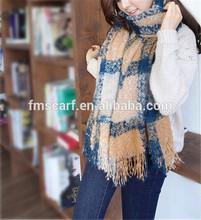 Fashion Women's Mix Color Plaid Long Scarf Air Conditioning Cape Tassel Shawl Scarf