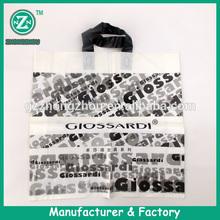 Printed soft loop handle HDPE material plastic vinyl tote bags