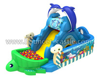 2014 Custom Giant Inflatable Bouncy Slide, Animal Cartoon Character blue fish Bouncer combo, Outdoor Party Slide for kids/adult