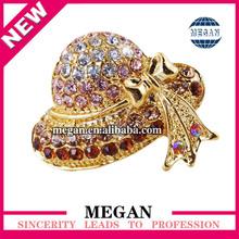 golden hat rhinestone fashion brooch pin