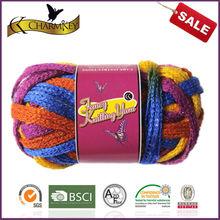mixed color acrylic metallic blended magic hand knitting scarf yarn