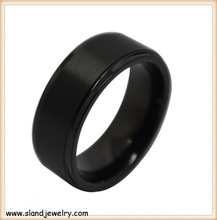 10MM Wide Mens Black Tungsten Ring Personalized Wedding Band Pipe Cut With Custom Engraving matte finish black tungsten rings