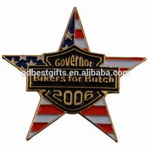 Custom metal five star lapel pin badge