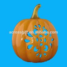 Orange Ceramic Pumpkin with Gold Tip Tealight Candle holder
