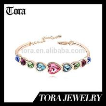 fashion hot sell gold diamond alloy bracelet newest heart rate bracelet
