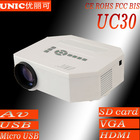 hot sell led projector UC 30 support mobile power AV USB SD VGA HDMI ,china projector, car projector ,video projector
