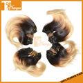 Venda quente grau 5a 100% peruano humano virgem onda do corpo cabelo curto tece 6 polegadas ombre 1b/613# dois tons extensão do cabelo remy
