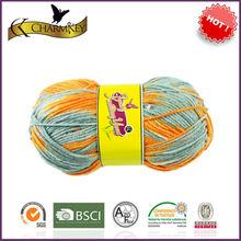 Orange gray color yarn crocheting baby shoes 100 acrylic yarn