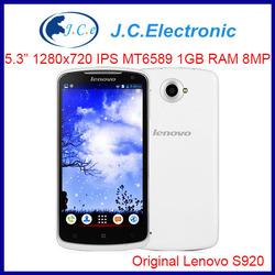 Original Lenovo S920 Multi language Mobile cell phone 5.3IPS 1280x720 MTK6589 Quad core1.2G 1G RAM 4G ROM Android 4.2 8MP